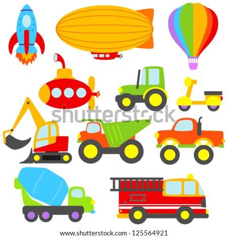 Cute Vector Transportation and Construction Set