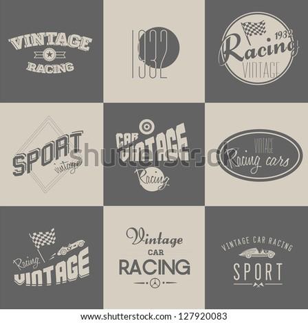 Cute Vector Vintage car racing badges set