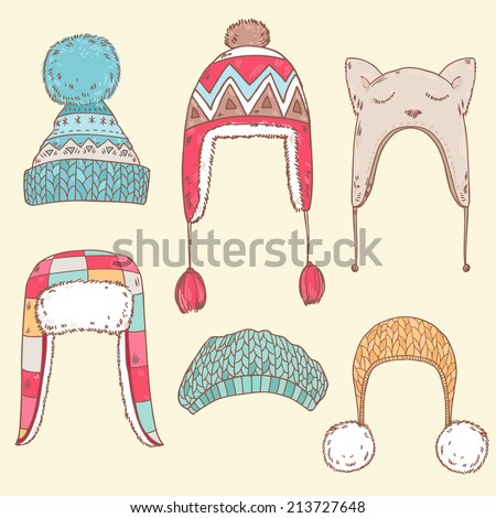 cute vector winter hats set