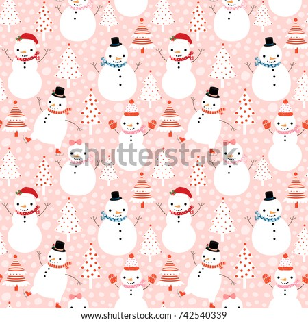 Cute vector winter seamless pattern with cartoon snowmen in flat style with hats and scarves on pink background with Christmas trees