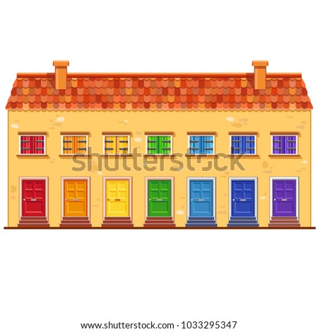 cute vector yellow house with