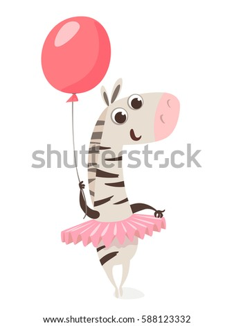 Cute vector zebra character with a balloon. Cool for children birthday card.