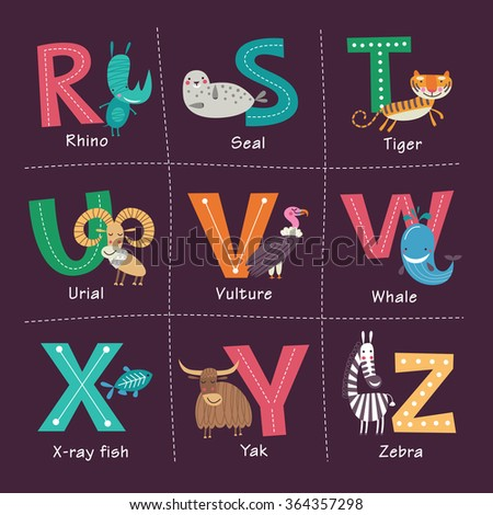 cute vector zoo alphabet with