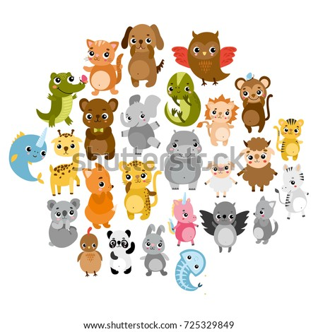 cute vector zoo  animals hare