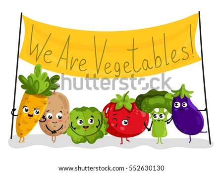 Cute vegetable cartoon characters isolated on white background vector illustration. Funny carrot, potato, cabbage, tomato, broccoli, eggplant with banner. Happy smile emoticon face, comical food emoji