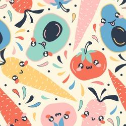 Cute vegetable pattern. Vector illustration.