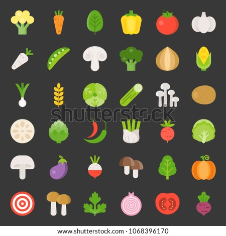 Cute vegetable set 1/3, flat design icon