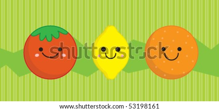 cute vegetables and fruits in