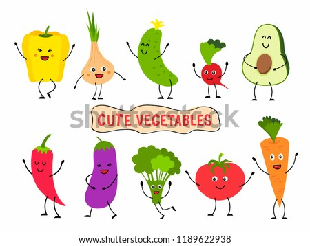 Cute vegetables set in cartoon style #1189622938