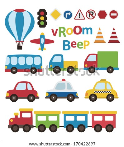 cute vehicle collection vector