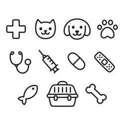 Cute vet icon set. Hand drawn line icons of pets, toys and veterinary equipment.