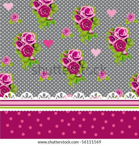Cute victorian cover design with roses and lace frame in vector