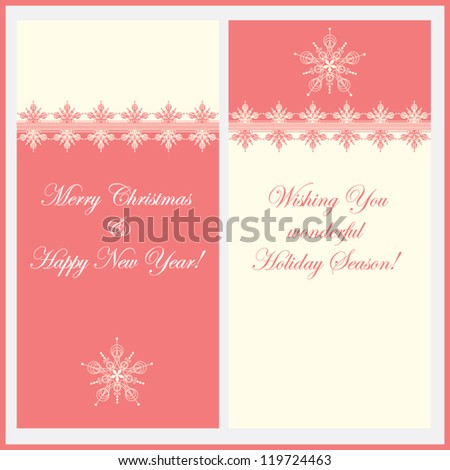 Cute vintage Christmas Greeting card with lace elements inspired by snowflakes