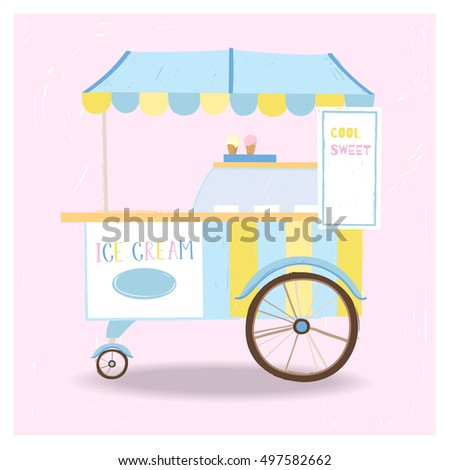 Cute vintage ice cream cart. can be used in card design, postcards, calendars, websites, wallpapers, banners, backgrounds
