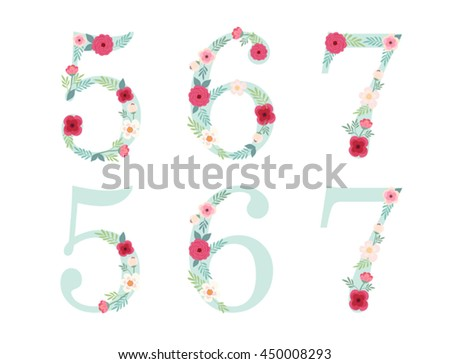 cute vintage numbers with hand