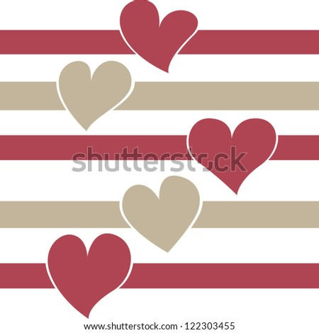 Cute vintage Valentine decorative banner with various hearts isolated on white background