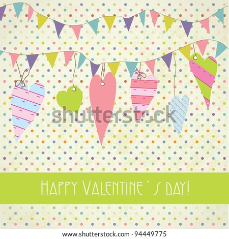 Cute vintage valentine`s card with flags and hearts