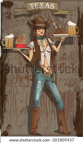 cute waitress in a cowboy...