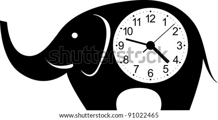 Cute wall clock elephant sticker. Colorful vector illustration