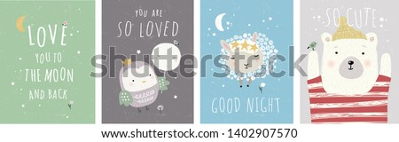 Cute wall interior poster, card or picture for the children's room. Vector drawn illustration of an animal bear, bird and sheep.  Drawing in the nursery