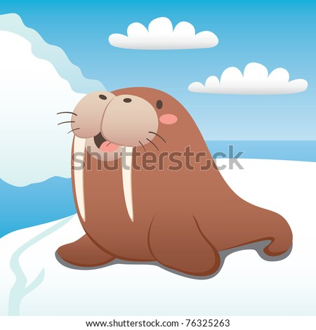 cute walrus happy resting on