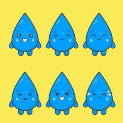 Cute Water Drop Characters With Various Expression