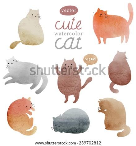 cute watercolor cats vector set