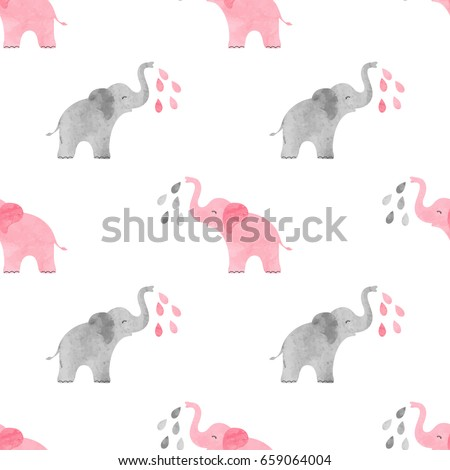 Cute watercolor elephants pattern. Vector simple seamless background for kids.