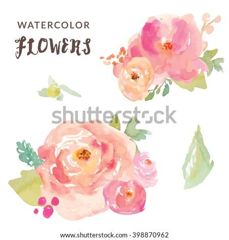 Cute Watercolor Flowers Vector Bouquets