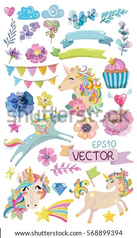 Cute watercolor magic unicorn with flowers, clouds , colorful collection of elements, Vector