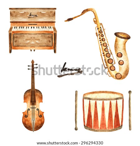 Cute watercolor musical instruments including piano violin saxophone and drum vintage style