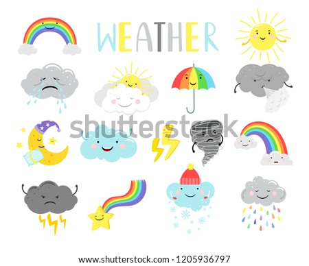 Cute weather. Cartoon weathers illustration items for kids, sunny clouds and happy sun face, moon and tornado isolated on white, vector illustration