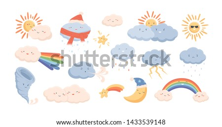 Cute weather phenomena - clouds, wind, rainbow, thunderstorm, tornado, snow, rain, sun and crescent moon. Adorable cartoon characters isolated on white background. Childish vector illustration.