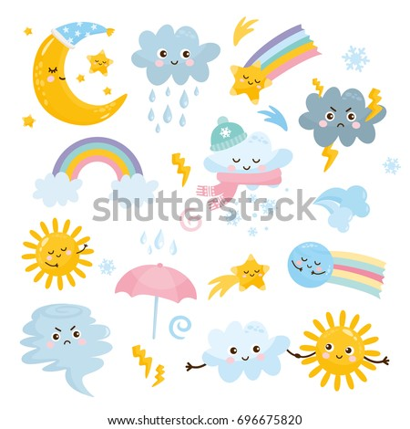 cute weather set emotional