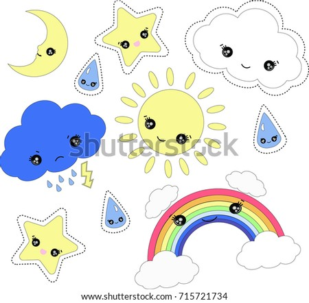 cute weather set isolated