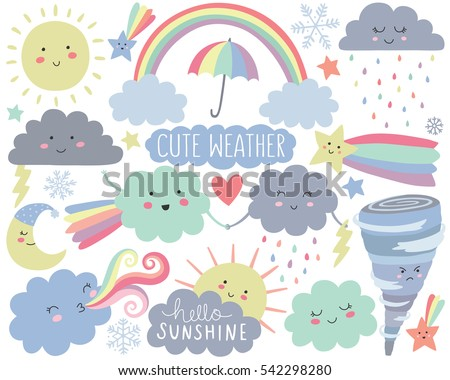 cute weather vector set