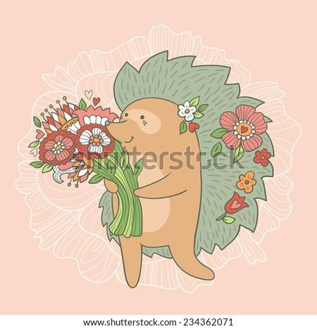 cute wedding card hedgehog