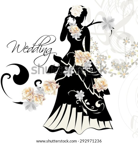 cute wedding card with bridal