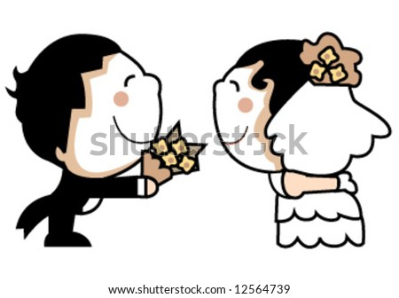 stock vector cute wedding couple