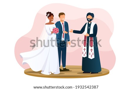 cute wedding couple and the