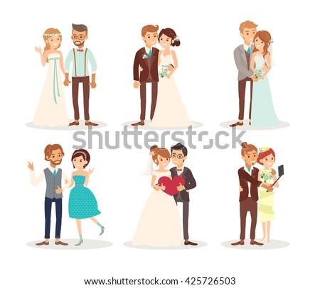 cute wedding couple bride and