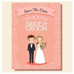 cute wedding couple cartoon character for invitations card