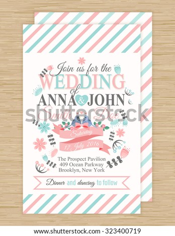 cute wedding invitation card with ribbon, birds and flowers , vector illustration
