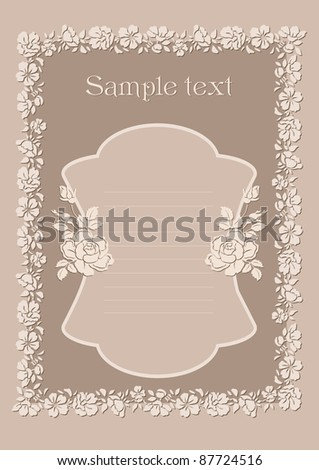 stock vector Cute wedding invitation card with vintage ornament frame