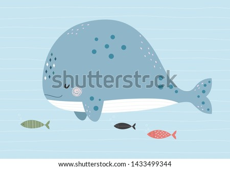 cute whale and fishes in the