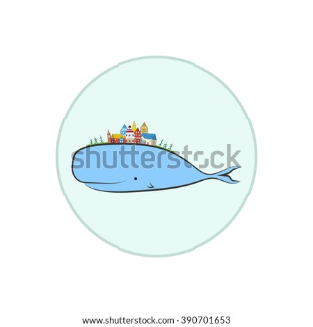 cute whale and little town