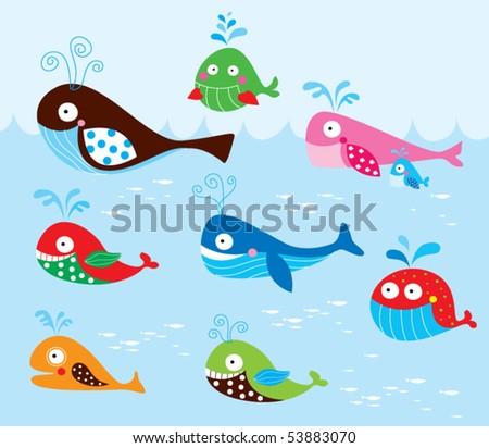 whale cartoon cute. stock vector : cute whale
