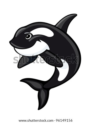 Cute whale for mascot design. Vector illustration
