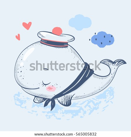Cute whale in a sailor suit cartoon hand drawn vector illustration. Can be used for t-shirt print, kids wear fashion design, baby shower invitation card.