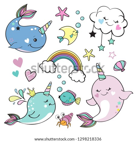 cute whale unicorn collection